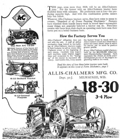 Early ad for the Allis-Chalmers Mfg. Co.
