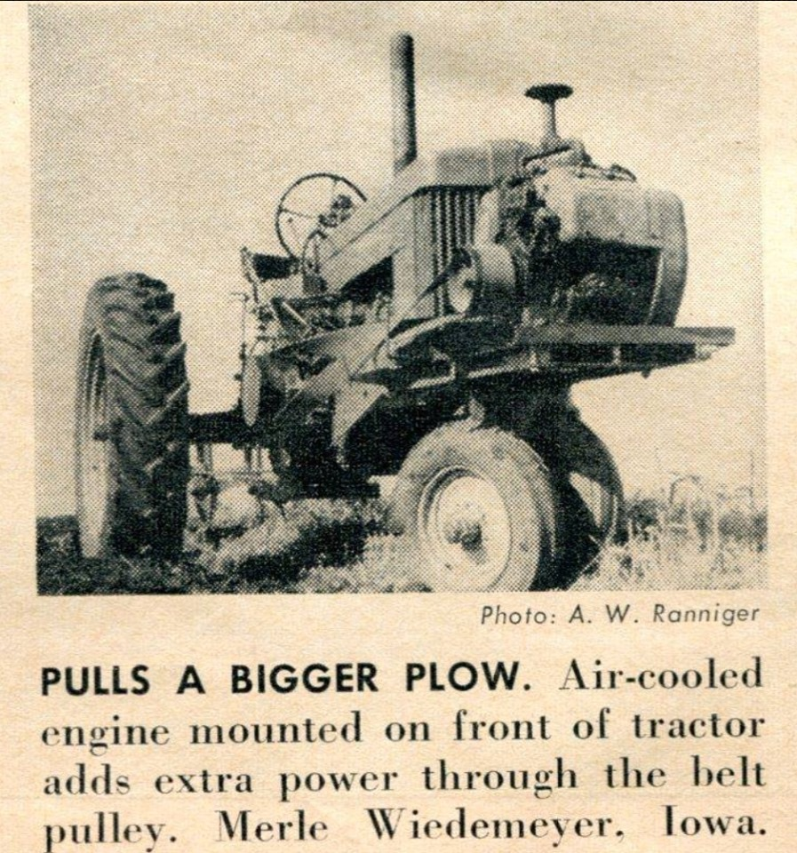 Air-cooled engine used to pull a bigger plow