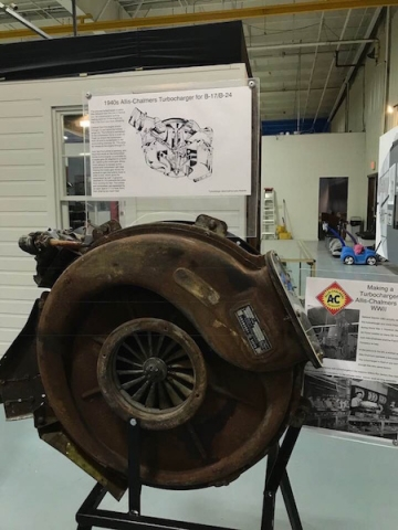 AC turbocharger as used on B17 and B24 bombers displayed at Liberal Ks museum